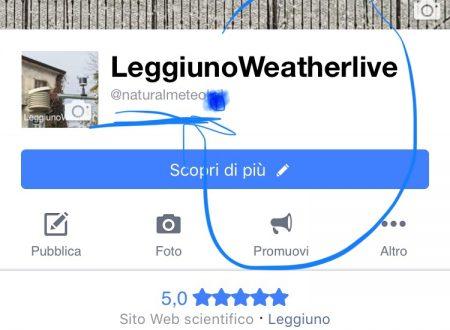 Comunicato ufficiale : modifica nome pagina LeggiunoWeatherLive in NaturalMeteo