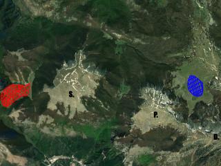 Piano Ruggio e Piani Pollino viste dal satellite.