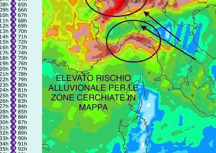 MALTEMPO REGIONI DI NORD OVEST : SARANNO ORE DELICATE PER ALCUNE ZONE DEL NORD ITALIA